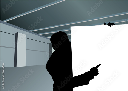 businessman with board for text silhouette vector
