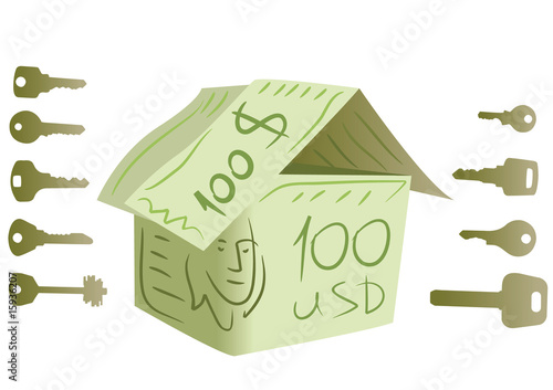 keys and dollar house vector
