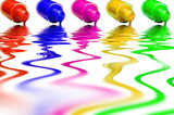 Multicolored varnish on a white background poster