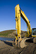 Excavator by pond