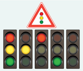 Different traffic light and road sign