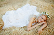 Bride in hay stack