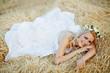 Bride in hay stack