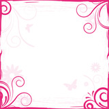 abstract pink floral background frame for design