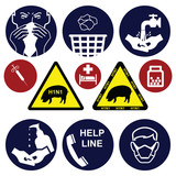 H1N1 swine flu sign collection individually layered poster
