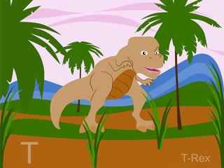 Animal alphabet flash card, T for t-rex