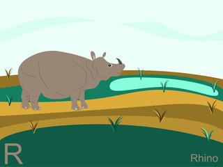 Animal alphabet flash card, R for rhino