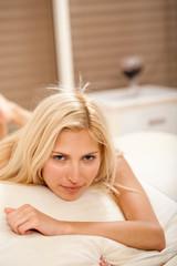 caucasian female in the bedroom