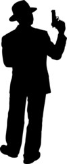 Vector Silhouette of a Gunman in a Suit and Hat