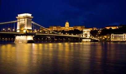 Chain bridge and budai castle Budapest, Hungary