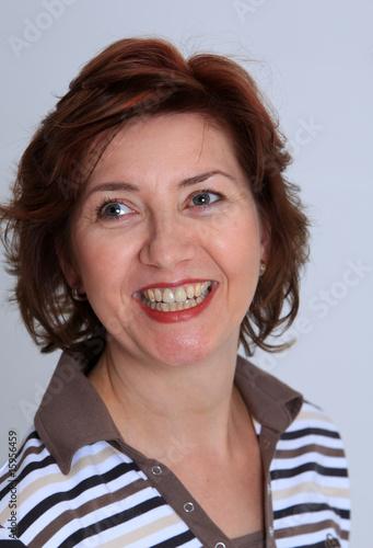 canvas print picture laechelnde Frau