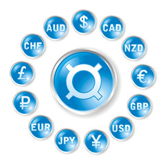 Vector round icons by marks rates for forex trading