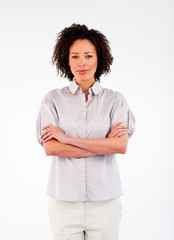 Brunette businesswoman with folded arms