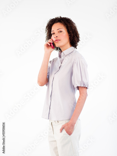 Young businesswoman talking on a phone