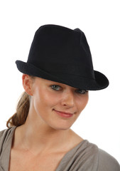 blond in hat