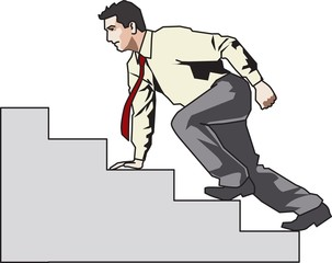 Business man climbing up the stairs