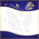 Exotic Blue Holly Adorned Gift Tag with Room for your own text poster