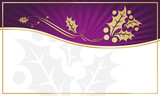 Purple & Gold Holly Adorned Gift Tag- Room for your own text. poster
