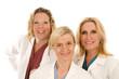 three doctors or nurses in medical lab coats