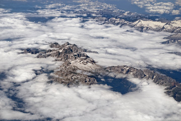 Aerial View of the Italian alps.