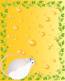 Two mice against from yellow cheese full of holes poster