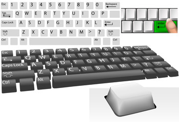 Computer keys and keyboard elements set
