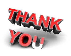 Thank You Thanks Gratitude Red on White 3d Sign Card Words Love