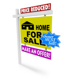 Price Reduced - Home for Sale Sign poster