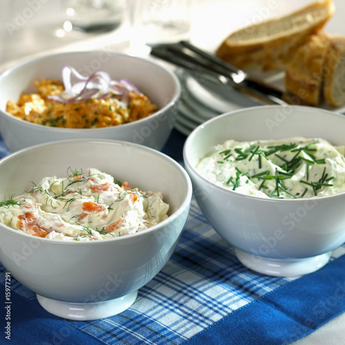 Various spreads in bowl