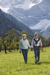 Österreich, Ahornboden, Senioren Paar, über Wiese laufen, Hände halten