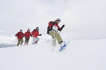 Italien, Südtirol, Vier Personen in einer Reihe, Schneeschuhwandern