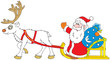 Santa Claus driving in the sleigh with Reindeer
