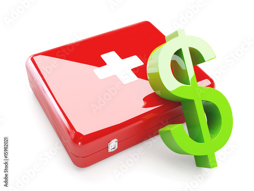 Isolated Aid Kit With Green Dollar Sign.