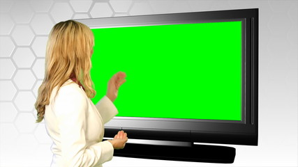 Woman on front of green screen (1080p footage)