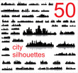 City silhouettes of the most popular cities of the world