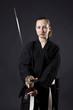 Female samurai holding katana