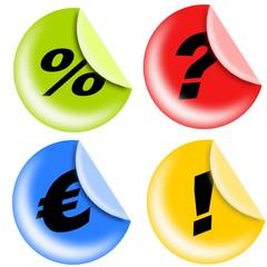 etichette tonde con simboli