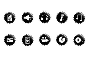 Media icons. Black
