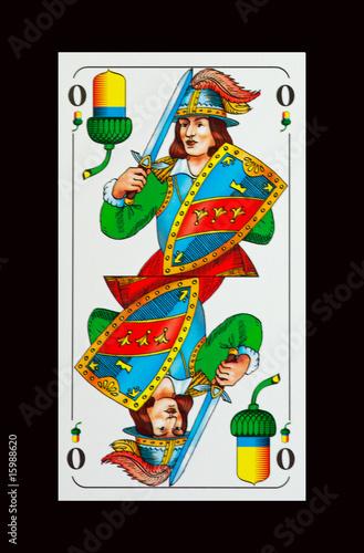 Bayerische Schafkopfkarte -Trumpfkarte Eichel-Ober