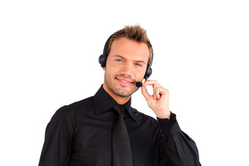 Attractive friendly customer service representative man