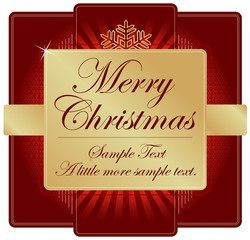 Ornate Red & Gold Christmas Label with room for your own text