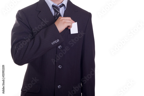 Pulling out a business card from pocket