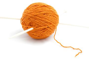 Orange clew and needle isolated
