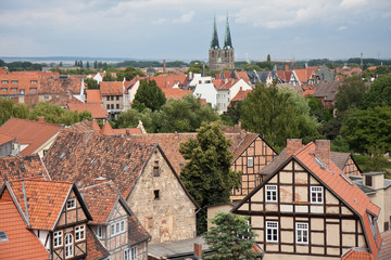 Cityscape of medieval city Quedlinburg