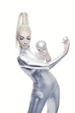 Beautiful cyber woman with silver balls poster