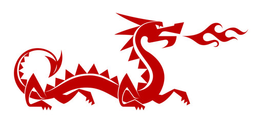 "Red Dragon. Stylized silhouette of a ""chinese"" dragon"