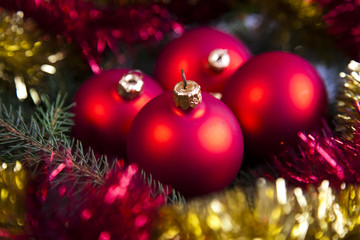 Photography of baubles connected with Christma