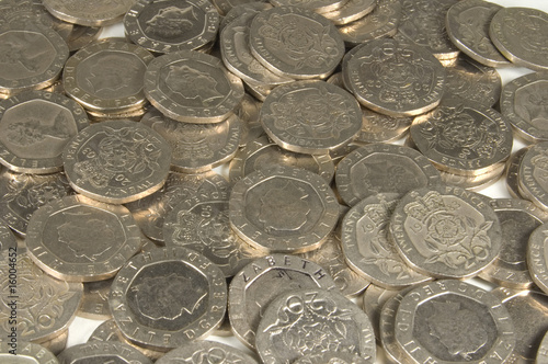 british twenty pence coinage background