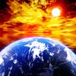 地球と赤く染まる空