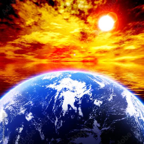 canvas print picture 地球と赤く染まる空
